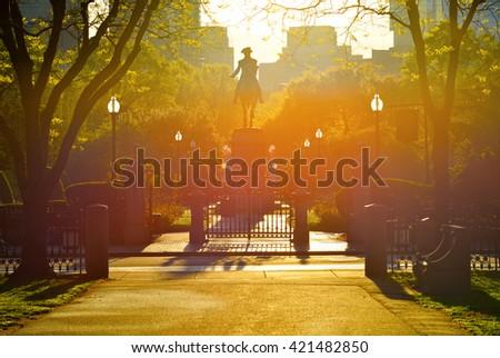 Sunrise in Boston - stock photo