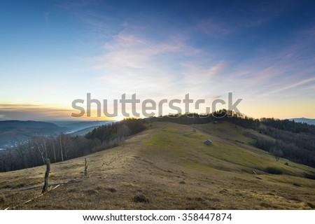 sunrise in Carpathian mountain valleys autumn landscape in the Carpathian mountains europe - stock photo