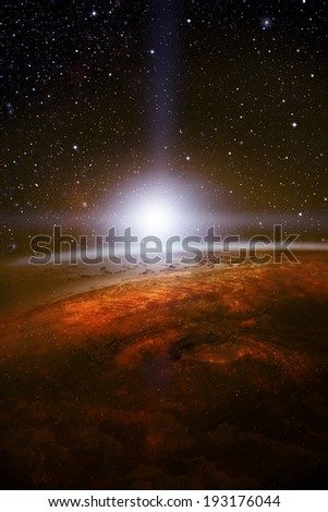Sunrise in deep outer space - stock photo