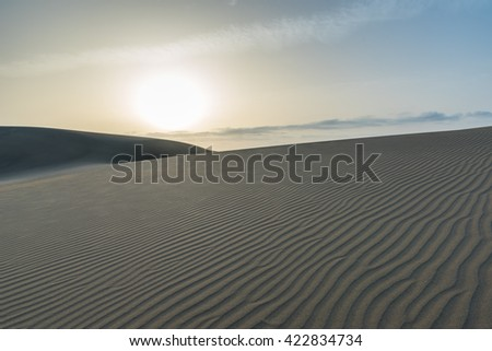 Sunrise in Desert - beautiful landscape with sand dunes