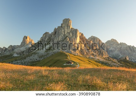 Sunrise in Dolomite Mountains (Passo Giau) - stock photo