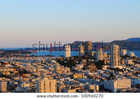 Sunrise in Downtown San Francisco, US - stock photo