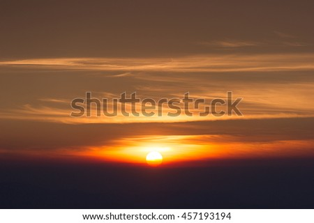 Sunrise in early morning with magic cloud background