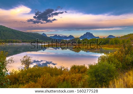 Sunrise in Grand Teton National Park - Oxbow Point - stock photo
