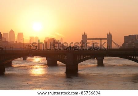 Sunrise in London - stock photo