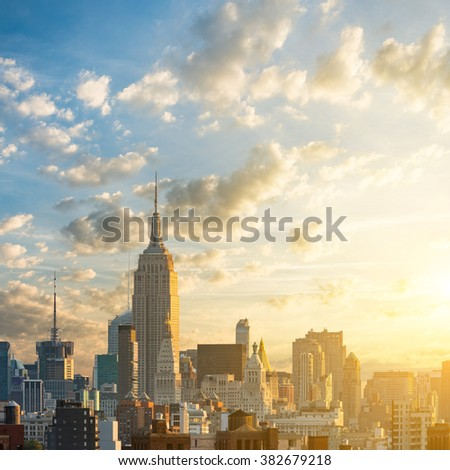 Sunrise in Manhattan, New York, USA - stock photo