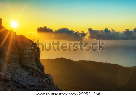 Sunrise in mountains, nature background. Photo taken on Ay Petri peak, Ukraine. - stock photo