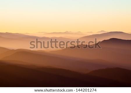 Sunrise in mountains, summer, Carpathians - stock photo