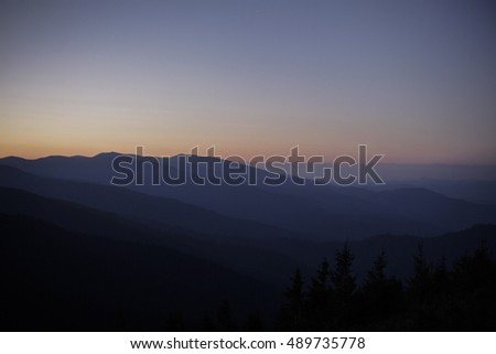Sunrise in mountains, summer, Carpathians