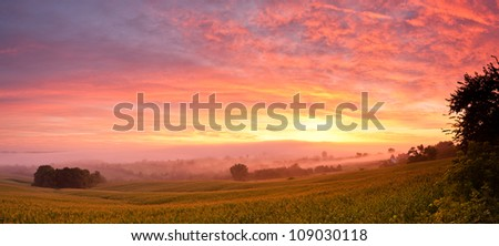 Sunrise in north east Iowa over corn field - stock photo