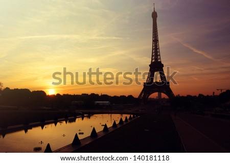 Sunrise in Paris  Eiffel Tower - stock photo