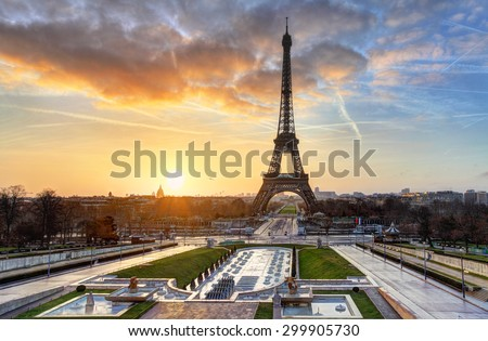 Sunrise in Paris, with  Eiffel Tower - stock photo