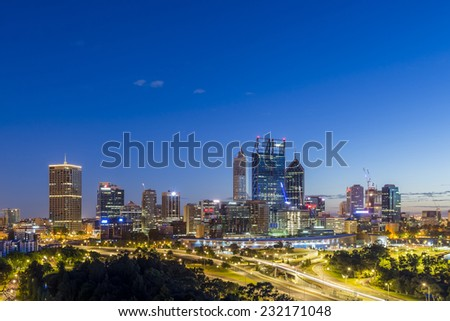 Sunrise in Perth. Focussing on the CBD and taken from Kings Park in the early morning.