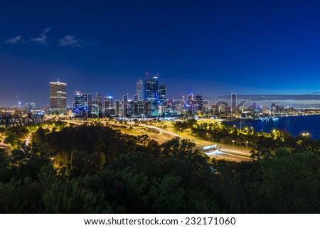Sunrise in Perth. Focussing on the CBD and taken from Kings Park in the early morning. - stock photo