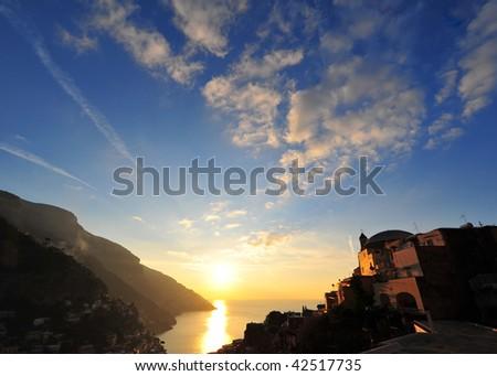 Sunrise in Positano, Italy - stock photo
