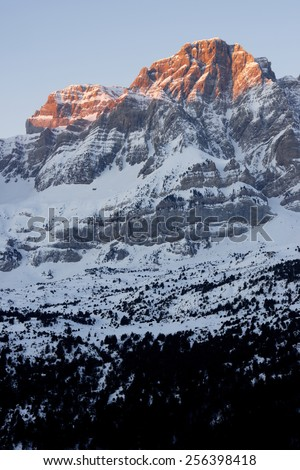 Sunrise in Telera Peak, Partacua Mountains, Tena Valley, Pyrenees, Huesca, Aragon, Spain - stock photo