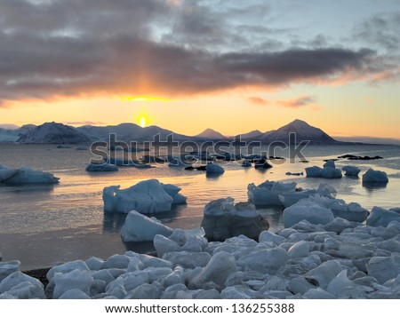 Sunrise in the Arctic - Spitsbergen, Svalbard. - stock photo