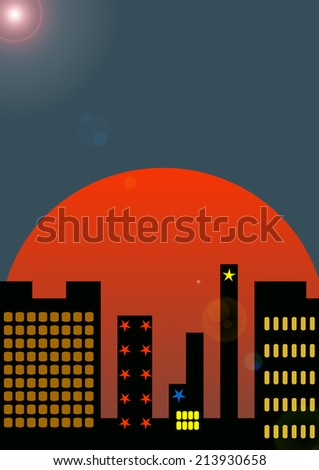 Sunrise in the city. New beginning concept.