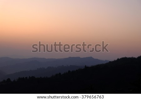 Sunrise in the early morning with beautiful sky at Mae Salong Mountain, Chiang Rai, Thailand.