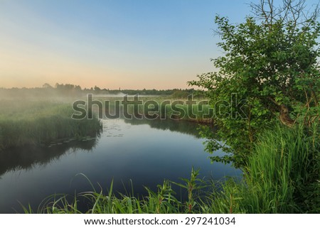 Sunrise in the field at the river with fog. Dawn at the river. Web in dew in the morning. Bright fine sunrise on the river - stock photo