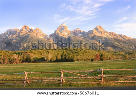 sunrise in the Grand Tetons National park, Wyoming, USA - stock photo