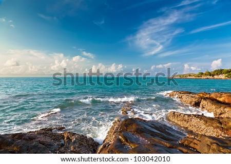 Sunrise in the Gulf of Siam - stock photo