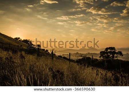 Sunrise in the High Country, Australia - stock photo