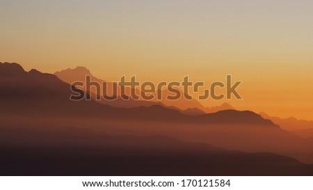 Sunrise in the Himalayas - stock photo