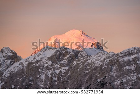 Sunrise in the Julian Alps  on a winter day