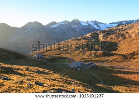 sunrise in the Lauson basin, at the Vittorio Sella refuge, in the Gran Paradiso National Park