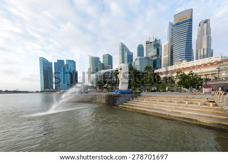Sunrise in the morning at Merlion, Marina Bay, SINGAPORE - Jan 31, 2015