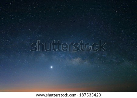 Sunrise in the morning, Landscape of Milky Way beautiful sky - stock photo