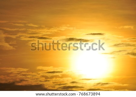 Sunrise in the morning, sunrise with clouds.The sun is rising in the morning at Sea Island, Thailand.Scenic orange sunset sky background