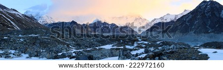 sunrise in the mountains Cho Oyu, Himalayas, Nepal - stock photo