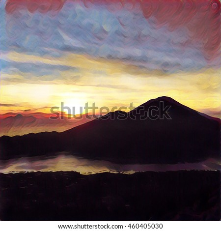 Sunrise in the mountains digital illustration.Morning sun in orange and blue sky, fluffy clouds, distant mountains and volcanic lake. Mountain landscape. Natural background for print or web design