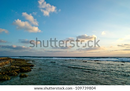 sunrise in the sea. - stock photo