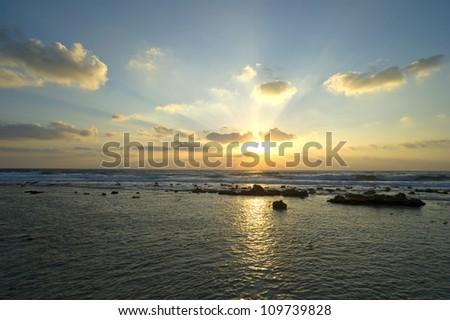sunrise in the sea. - stock photo