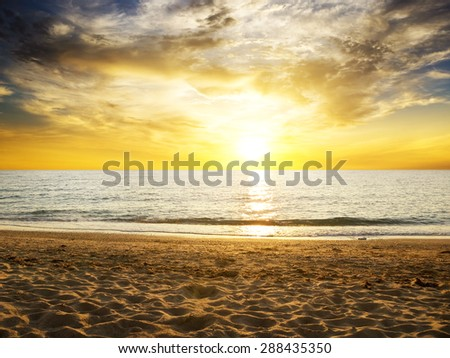 sunrise in the sea. Nature composition. - stock photo