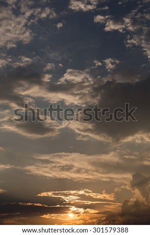 sunrise in the sky, beginning of light in the morning day, beautiful orange sky - stock photo