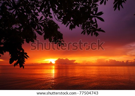Sunrise in tropical sea with tree and clouds on a horizon - stock photo
