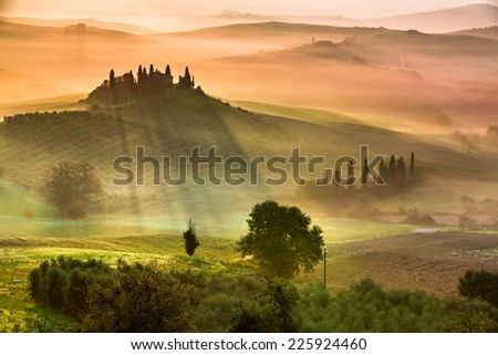 Sunrise in Tuscany - stock photo