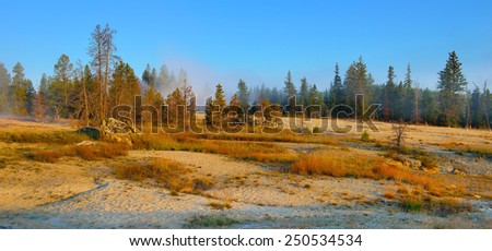 sunrise in West Thumb area in Yellowstone National Park, Wyoming - stock photo