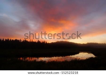 Sunrise in wetland of Algonquin Park in Ontario, Canada - stock photo