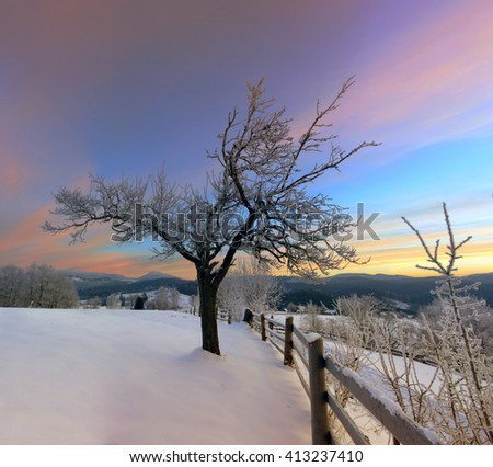 Sunrise in winter mountains . Sunrise in Carpathian Mountains, Ukraine