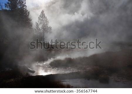 Sunrise in Yellowstone National Park, Wyoming, United States - stock photo