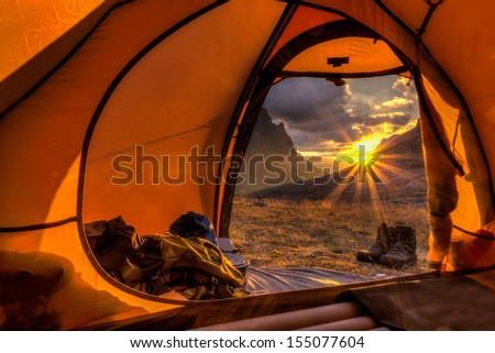 Sunrise inside a Tent - stock photo