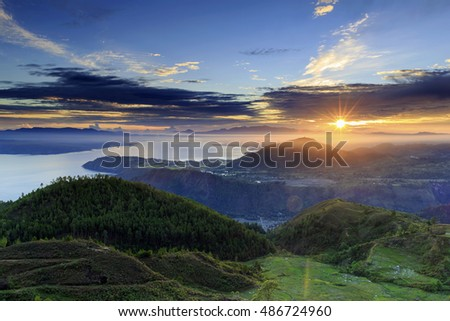 sunrise lake toba,,north sumatra