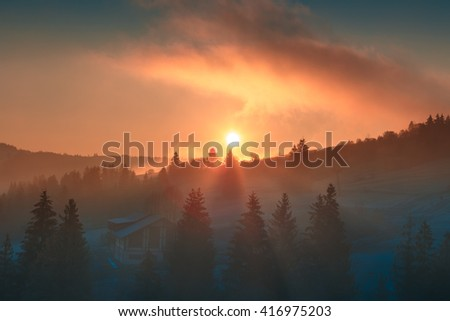 Sunrise landscape. Beautiful morning sun over forest through the dense fog clouds at Carpathian mountains. Ukraine.