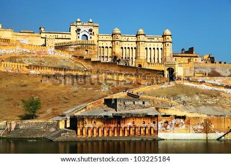Sunrise light over Amber Fort in Jaipur, Rajasthan, India - stock photo