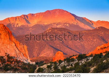 Sunrise looking out over the Garden of The Gods and Pike's Peak in Colorado Springs, Colorado - stock photo